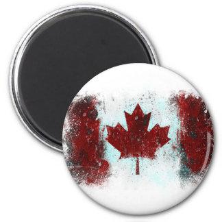 Pintada canadiense de la bandera imanes de nevera