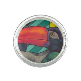 Pintada colorida de Toucan Anillos