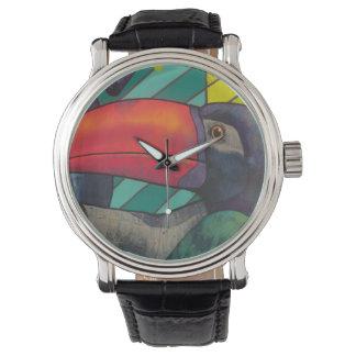 Pintada colorida de Toucan Relojes