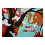 Pintada colorida del elefante de la tarjeta del fe