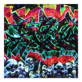 """Pintada de 5 cráneos de Pointz Nueva York Invitación 5.25"""" X 5.25"""""""