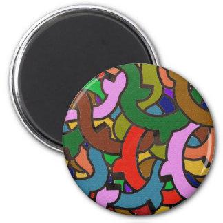 Pintada de Digitaces de tubos coloridos Imán Redondo 5 Cm