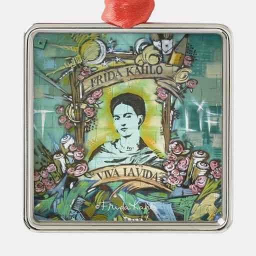 Pintada de Frida Kahlo Adorno Cuadrado Plateado