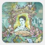 Pintada de Frida Kahlo Pegatina Cuadrada