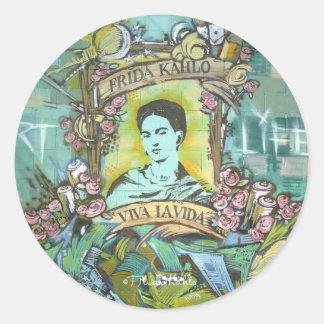 Pintada de Frida Kahlo Pegatina Redonda