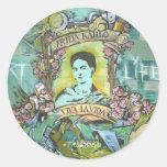 Pintada de Frida Kahlo Pegatinas Redondas