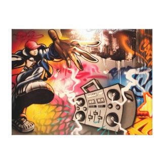 Pintada de Hip Hop Boombox Impresión En Lienzo Estirada