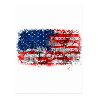Pintada de la bandera americana tarjetas postales