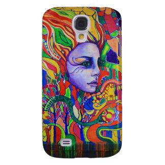Pintada de la cara de la mujer colorida en Vinnits Funda Samsung S4