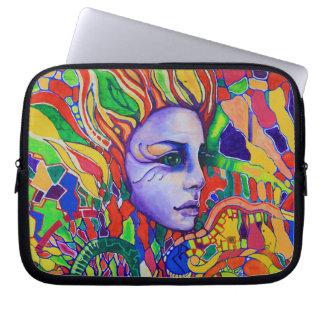 Pintada de la cara de la mujer colorida en Vinnits Fundas Computadoras