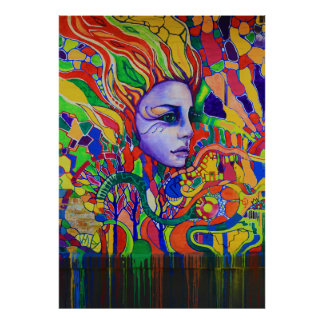Pintada de la cara de la mujer colorida en Vinnits Póster