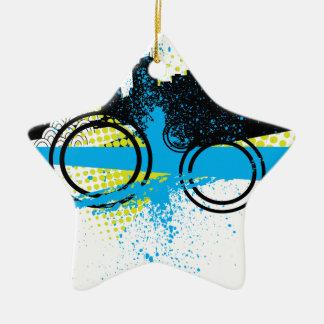 Pintada de la ciudad adorno navideño de cerámica en forma de estrella