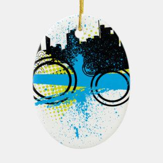 Pintada de la ciudad adorno navideño ovalado de cerámica