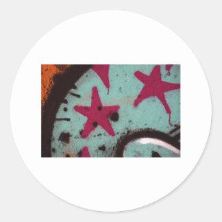 Pintada de la estrella pegatina redonda