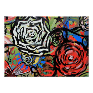 Pintada de la flor del poster