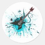 Pintada de la guitarra - alternativa de la banda pegatinas redondas