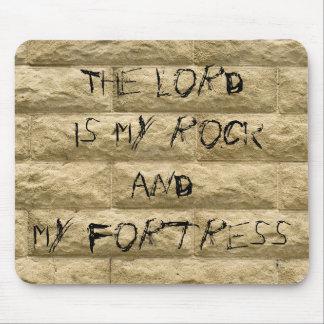 pintada de la pared de piedra… El señor es mi roca Mouse Pad