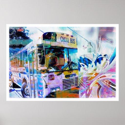 Pintada de las calles de San Francisco del autobús Posters