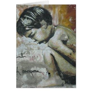 Pintada de Little Boy Tarjeta De Felicitación