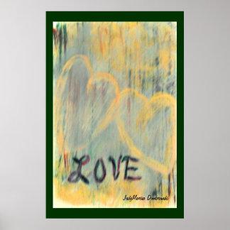 Pintada del amor de dos corazones póster