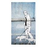 pintada del caminante del perro plantilla de tarjeta personal