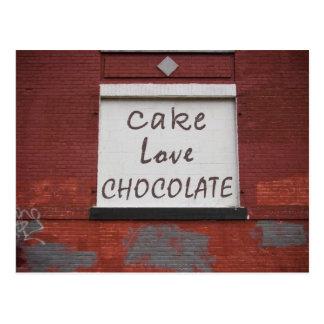 Pintada del chocolate del amor de la torta tarjeta postal