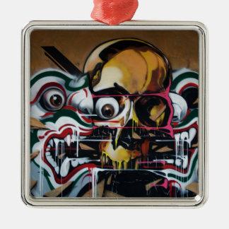 Pintada del cráneo de Bangkok Adorno Navideño Cuadrado De Metal