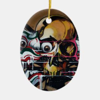 Pintada del cráneo de Bangkok Adorno Navideño Ovalado De Cerámica