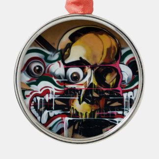 Pintada del cráneo de Bangkok Adorno Navideño Redondo De Metal