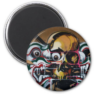 Pintada del cráneo de Bangkok Imán Redondo 5 Cm