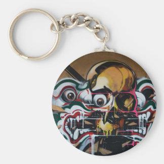 Pintada del cráneo de Bangkok Llavero Redondo Tipo Pin