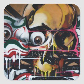 Pintada del cráneo de Bangkok Pegatina Cuadrada