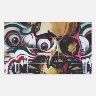 Pintada del cráneo de Bangkok Pegatina Rectangular
