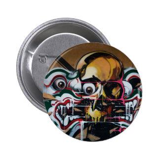 Pintada del cráneo de Bangkok Pin Redondo De 2 Pulgadas