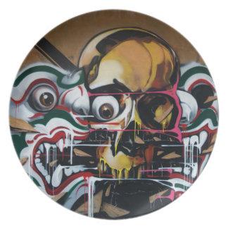 Pintada del cráneo de Bangkok Platos