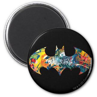 Pintada del logotipo Neon/80s de Batman Imán Redondo 5 Cm
