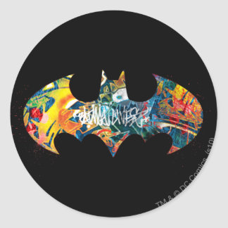 Pintada del logotipo Neon/80s de Batman Pegatina Redonda