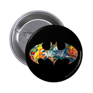 Pintada del logotipo Neon/80s de Batman Pin Redondo De 2 Pulgadas