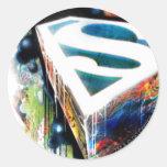 Pintada del neón del superhombre etiquetas redondas