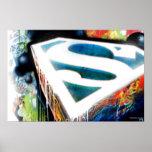 Pintada del neón del superhombre poster