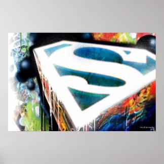 Pintada del neón del superhombre póster
