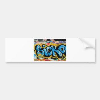 Pintada del Sicko en la pared texturizada Etiqueta De Parachoque