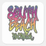Pintada del sur de la playa calcomanía cuadradas