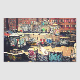Pintada del tejado en Chinatown Pegatina Rectangular