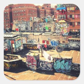 Pintada del tejado en Chinatown Pegatina Cuadrada