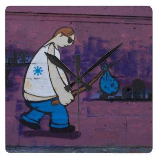 Pintada del vagabundo reloj cuadrado