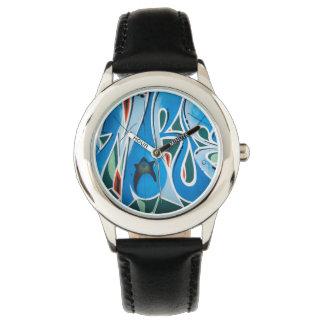 Pintada en azul relojes de pulsera