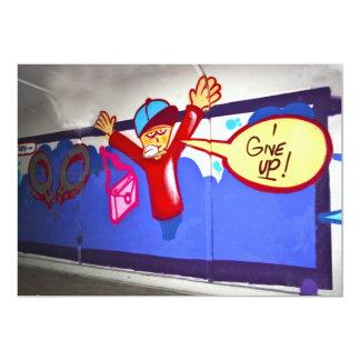 """Pintada en un subterráneo doy para arriba la invitación 5"""" x 7"""""""