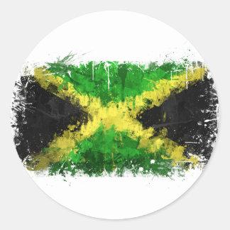Pintada jamaicana de la bandera pegatina redonda