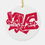 Pintada linda del amor del rojo carmesí adorno de navidad